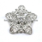 Star style white acrylic rhinestone alloy buttons
