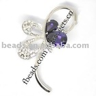 Butterfly metal brooch,with zircon