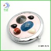 2012 fashionable round metal pocket jeweled makeup mirror