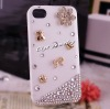 DIY plain rhinestone cell phone case for iphone 4g hand phone accessories for iphone 4/4s back cover 297