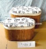 Oval Bamboo storage basket with wood frame (stool)