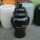 Jingdezhen High Temperature Fired Large Round Black Ceramic Porcelain Ginger Jars