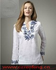 mix size floral emb tunic in linen
