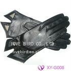 lady's winter black sheepskin leather durable gloves