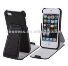 Litchi Texture Open Up And Down Holder Genuine Leather Case for iPhone 5