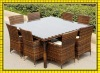 factory hot sale rattan dinning table with 8pcs chairs outdoor furniture garden dinner sets patio use SCTC-004