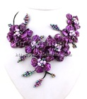Purple MOP Shell & Purple FW Pearl flower necklace earings set 18""