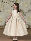 Champagne Wide Waistband with Three-dimensional Flower at Side Tie-back Sash Full Dirndl Skirt Flower Girl Dress