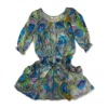 2011 newest fashion 70%co & 30%silk printed crushed short dress