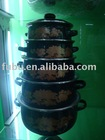 10 pcs enamel casserole with metal lid,dark color ,16-24cm