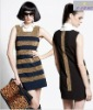 Sleeveless gold thread stripe dress