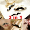 Fashion Jewelry Sets Mustache Necklace+Double Ring+Earrings