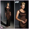 2012 Speacial Design Brown Off-Shoulder Bow Ruffl With A Long Sleeve Sheath Mother Bride Dresses