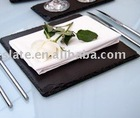 rectangle black color slate table mats and coasters
