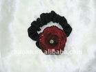 Austria Crystal red rose Circlet Ponytail colored elastic cord(HA-0034)