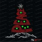 A5046 Christmas tree Iron on Crystal rhinestone Transfer for T-shirts
