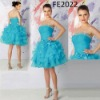 FE2022 Blue Fashion Style Strapless Organza Party Dress