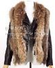 Genuine raccoon dog fur with rabbit fur knitting vest waistcoat,