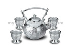 Chinese style unique design carved silver tea set