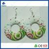 Fresh and elegant printing wooden earrings