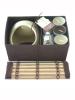 brown/cream bamboo lid oil burner set