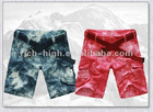 men's 100% cotton multi pocket casual tie dyed shorts with belt