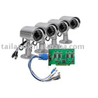 cctv system 4CH DVR card+4 Outdoor Sony CCD IR Cam Kit H.264