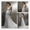 White Sweetheart Sheath/Column Organza Floor-length Wedding Dress with Beading