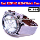 H.264 Compressing and Decoding 1280*720 720P HD waterproof lady wrist watch camera