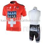 2010 red Saxo Bank team cycling wear short sleeve jersey and bib short