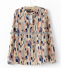2013 spring colorful stand collar chiffon blouse