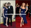 RED025 Sexy Cap Sleeves Sweetheart Slit Hi-Lo Royal Blue Oscar Red Carpet Celebrity Dress