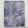 Jeans Denim PU Leather Stand Case for iPad3 / the new ipad