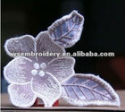 Embroidered lace leaf and flower badge iron on garment