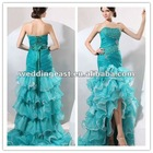 Organza Neckline Mermaid Evening Prom Dress with Beaded Boned Bodice And Lace Up
