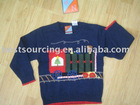 cute children clothing 7gg intarsia train ctton knitted boy's sweater pullover BS-447