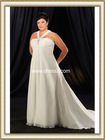 Lastest Western Style Pleated Empire Waist A Line Cheap Plus Size Wedding Dress With Beadings And Wide Neck Strap