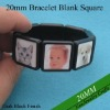 20mm Square Bezel Bracelet Blanks Flexible Size Great to Make Photo Bracelets with Clear Glass or Plastic Stickers