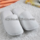 white closed toe hotel velour slippers/ washable velour cloth slippers