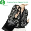 women' s newest fashion three quarter sleeve knitted jacquard black and white coat