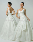 New Arrival V-neck Spaghetti Strap Pure White Taffeta Wedding Dress