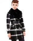 2012 new autumn fashion stripe style rabbit hair ladies coat