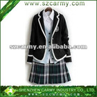 Hot Sell Senior Girls' Spring & Autumn White & Gray Checked School Uniform Set with an Embroidery Logo