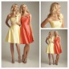 Miraculous Yellow and Water Melon Satin One-shoulder Handmade Flower Cheap Bridesmaid Dresses