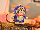 Fashion Metal Alloy Rhinestone robotivc cat metal key chain KC10634