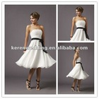White and Black Chiffon Satin Strapless Knee-Length Bridal Wedding Dresses