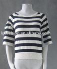 886450 dolman sleeve with button tab roll cuff scopp nck, stripe sweater