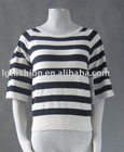 886450 dolman sleeve with button tab roll cuff scopp nck, stripe sweater