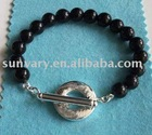 Classical Silver Toggle Bracelet Jewelry with Black Onyx Beads (SVB183)