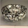 Black mother of pearl shell random pattern bathroom sink